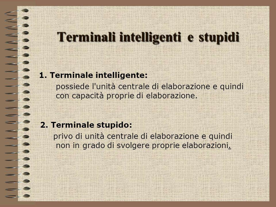 Terminali intelligenti e stupidi 1. Terminale intelligente: possiede l'unità centrale di elaborazione e quindi con capacità proprie di elaborazione. 2
