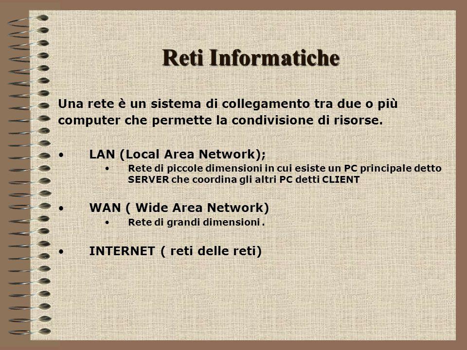 Reti Informatiche Una rete è un sistema di collegamento tra due o più computer che permette la condivisione di risorse. LAN (Local Area Network); Rete