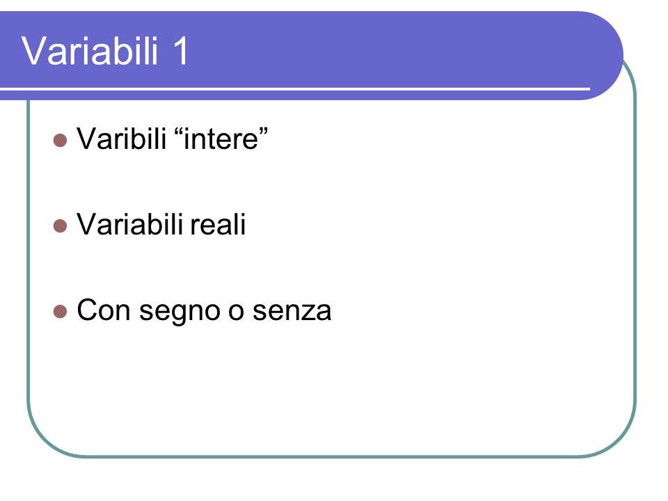 Variabili 1 Varibili intere Variabili reali Con segno o senza
