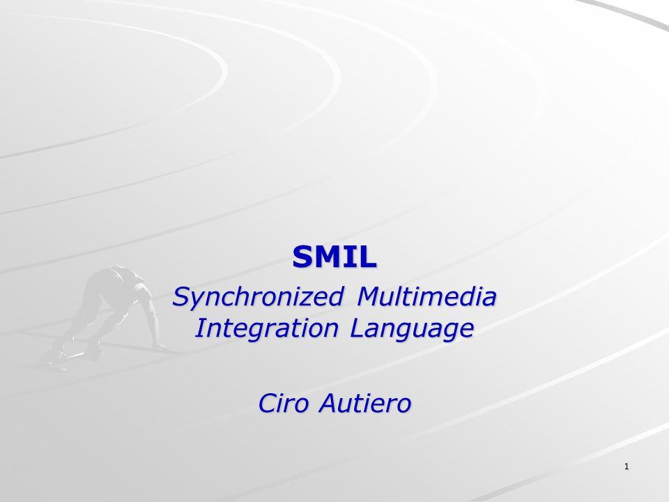 2 Cosa è SMIL SMIL (si pronuncia smile) è labbreviazione di Synchronized Multimedia Integration Language è un linguaggio per lintegrazione e la sincronizzazione di diversi files multimediali.