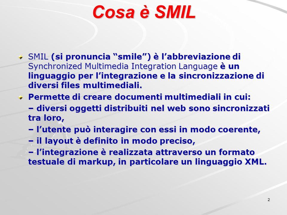 13 SMIL Profiles Un Profile è un insieme di moduli di SMIL che consente di ottimizzare la presentazione in funzione delle caratteristiche del Client.