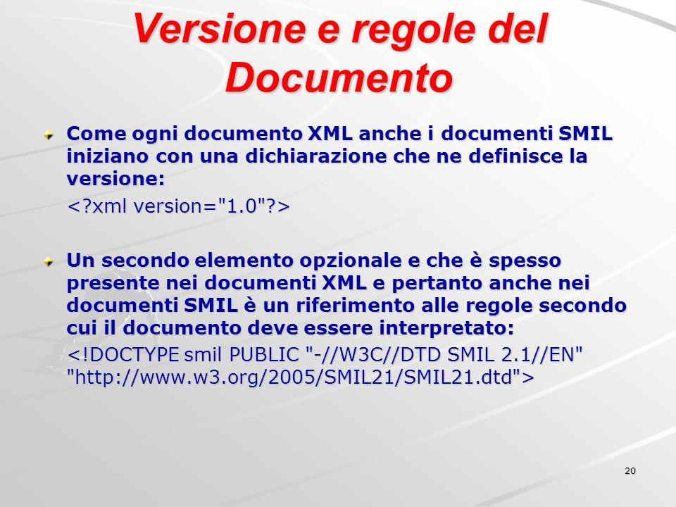 20 Versione e regole del Documento Come ogni documento XML anche i documenti SMIL iniziano con una dichiarazione che ne definisce la versione: Un secondo elemento opzionale e che è spesso presente nei documenti XML e pertanto anche nei documenti SMIL è un riferimento alle regole secondo cui il documento deve essere interpretato: