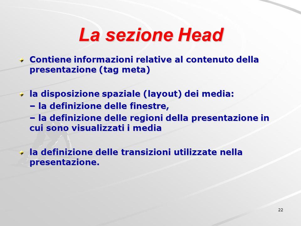 22 La sezione Head Contiene informazioni relative al contenuto della presentazione (tag meta) la disposizione spaziale (layout) dei media: – la definizione delle finestre, – la definizione delle regioni della presentazione in cui sono visualizzati i media la definizione delle transizioni utilizzate nella presentazione.