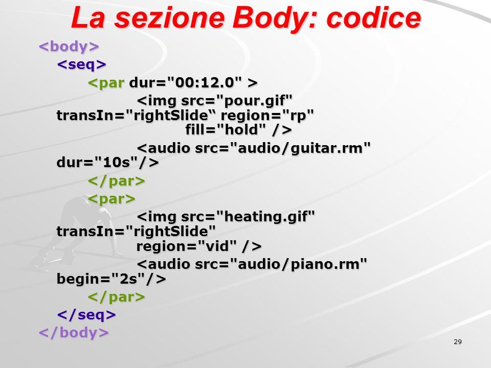 29 La sezione Body: codice <body><seq> </par><par> </par></seq></body>