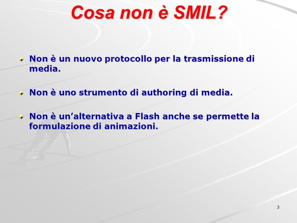 3 Cosa non è SMIL. Non è un nuovo protocollo per la trasmissione di media.