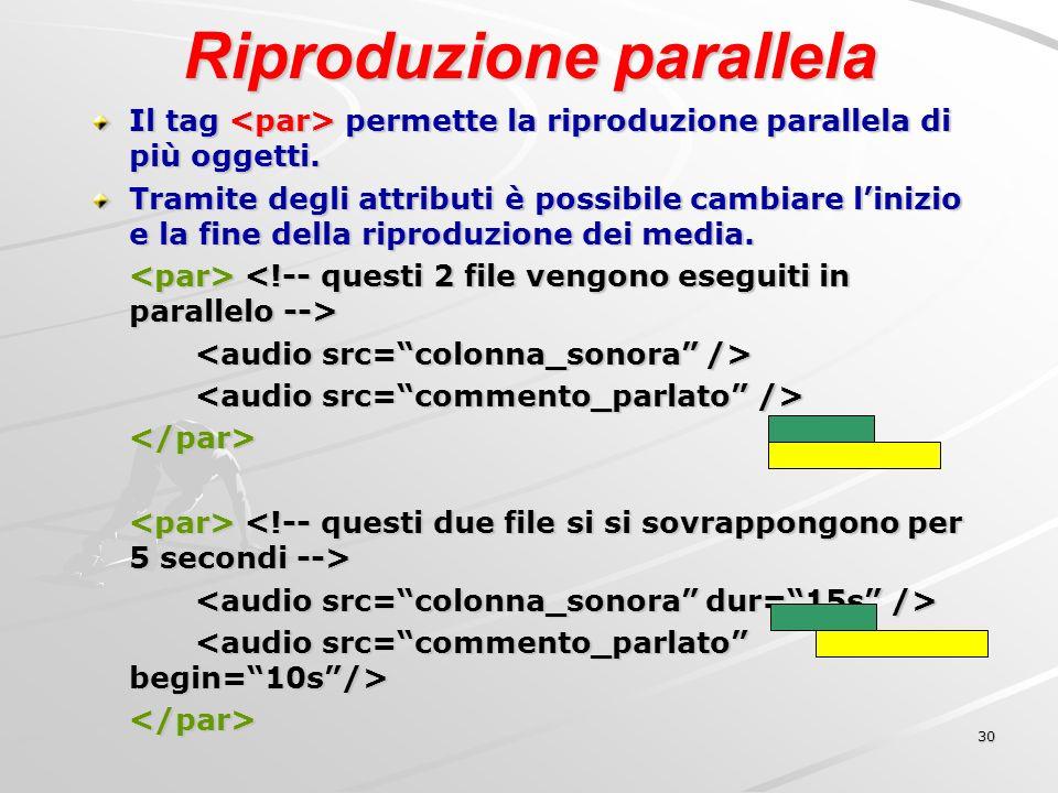 30 Riproduzione parallela Il tag permette la riproduzione parallela di più oggetti.
