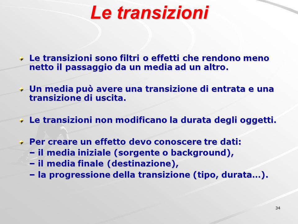 34 Le transizioni Le transizioni sono filtri o effetti che rendono meno netto il passaggio da un media ad un altro.