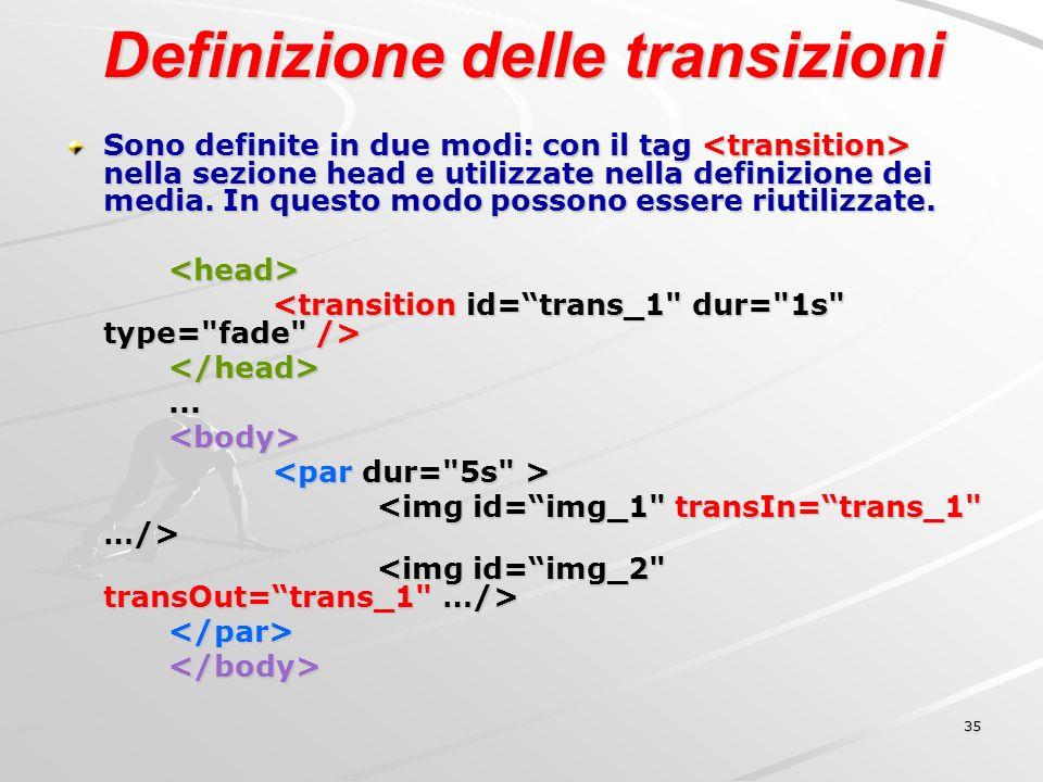 35 Definizione delle transizioni Sono definite in due modi: con il tag nella sezione head e utilizzate nella definizione dei media.