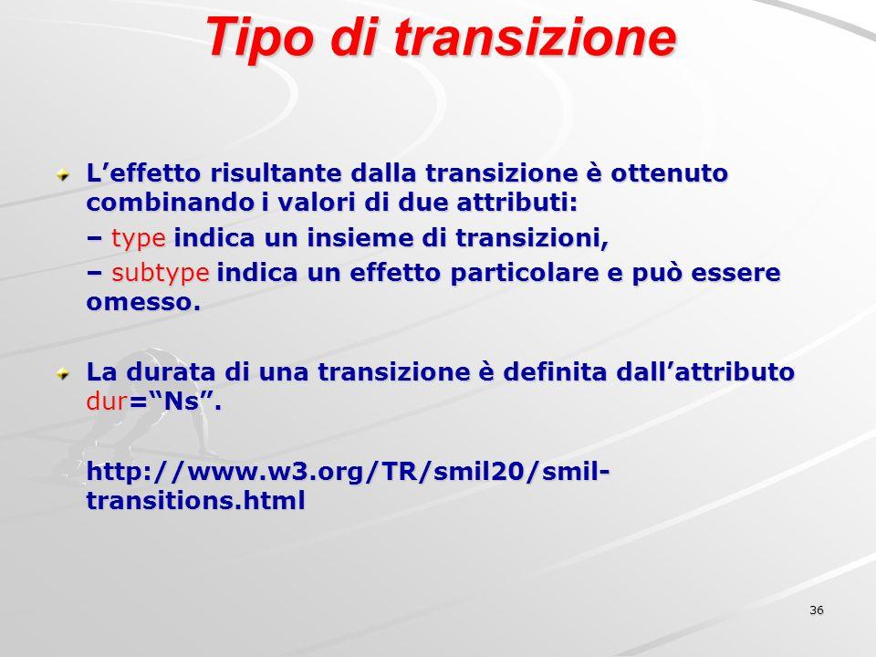 36 Tipo di transizione Leffetto risultante dalla transizione è ottenuto combinando i valori di due attributi: – type indica un insieme di transizioni, – subtype indica un effetto particolare e può essere omesso.