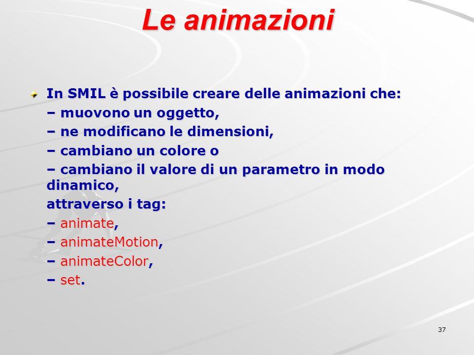 37 Le animazioni In SMIL è possibile creare delle animazioni che: – muovono un oggetto, – ne modificano le dimensioni, – cambiano un colore o – cambiano il valore di un parametro in modo dinamico, attraverso i tag: – animate, – animateMotion, – animateColor, – set.