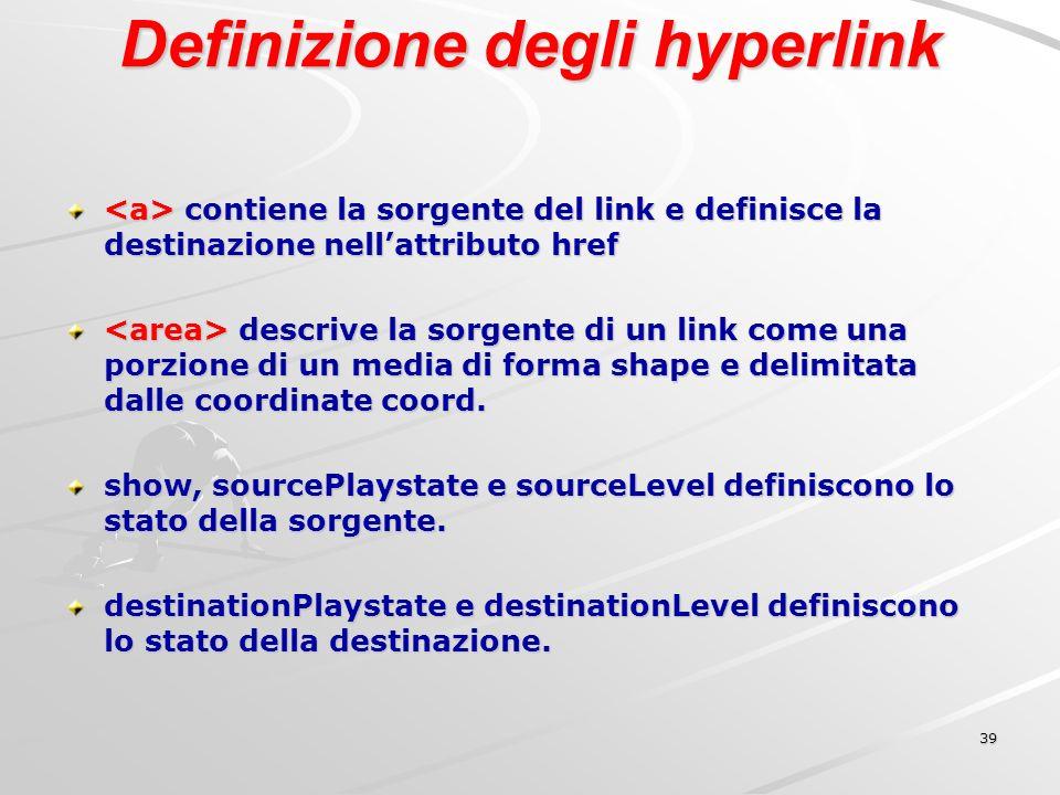 39 Definizione degli hyperlink contiene la sorgente del link e definisce la destinazione nellattributo href contiene la sorgente del link e definisce la destinazione nellattributo href descrive la sorgente di un link come una porzione di un media di forma shape e delimitata dalle coordinate coord.