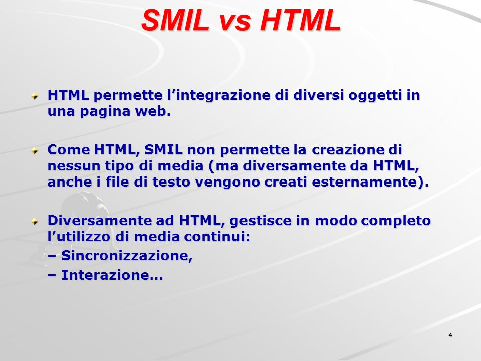 5 SMIL - Cronologia 15 Giugno 1998 Vengono pubblicate le specifiche di SMIL 1.0 come W3C recommendation 7 Agosto 2001 Le specifiche di SMIL 2.0 diventano una W3C recommendation.