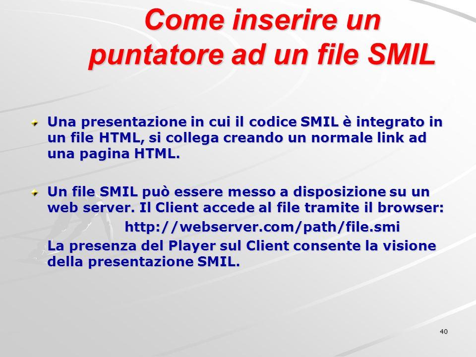 40 Come inserire un puntatore ad un file SMIL Una presentazione in cui il codice SMIL è integrato in un file HTML, si collega creando un normale link ad una pagina HTML.