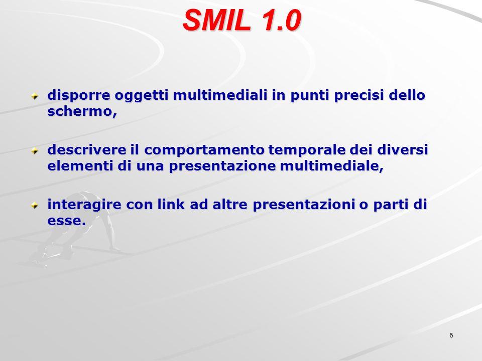 6 SMIL 1.0 disporre oggetti multimediali in punti precisi dello schermo, descrivere il comportamento temporale dei diversi elementi di una presentazione multimediale, interagire con link ad altre presentazioni o parti di esse.