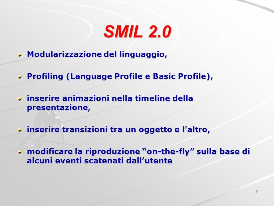 8 SMIL 2.1 Introduzione di feature per terminali mobili, in particolare vengono aggiunti i profile: Mobile Profile e Extended Mobile Profile, rivisti ed aggiunti moduli sulla gestione temporale dei file multimediali, sulla disposizione degli oggetti (layout) nella presentazione e sulle transizioni.