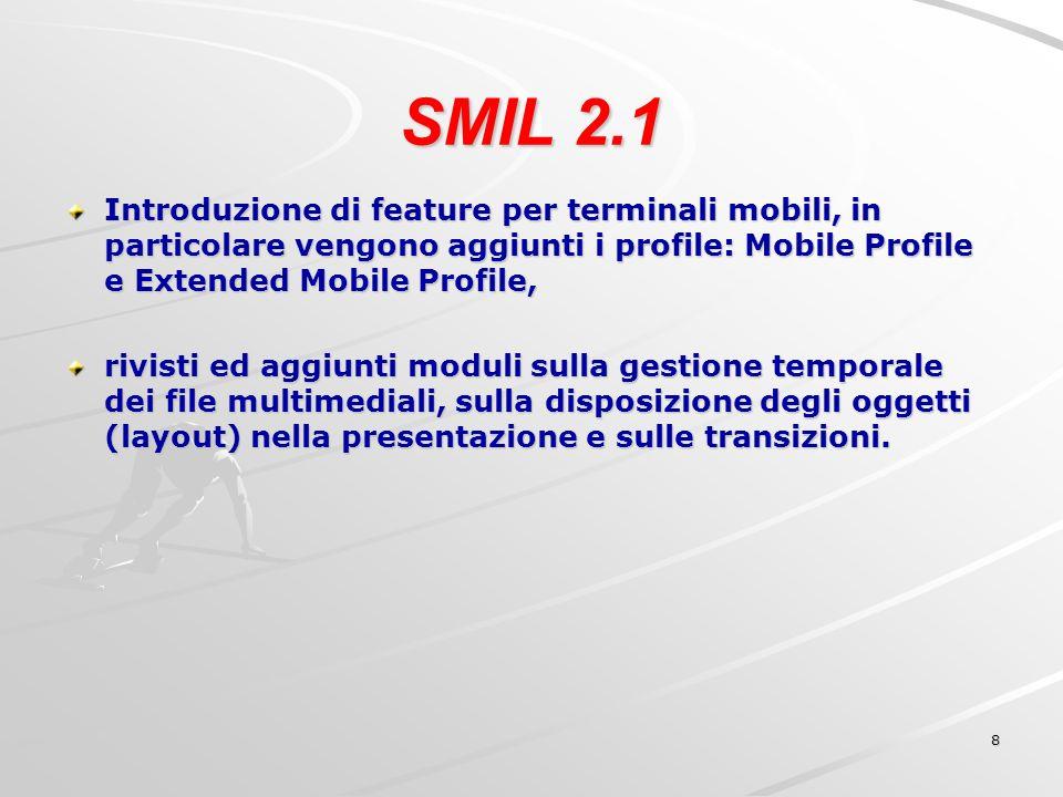 19 SMIL come linguaggio XML SMIL è un linguaggio di markup con una struttura molto simile ad un documento HTML.