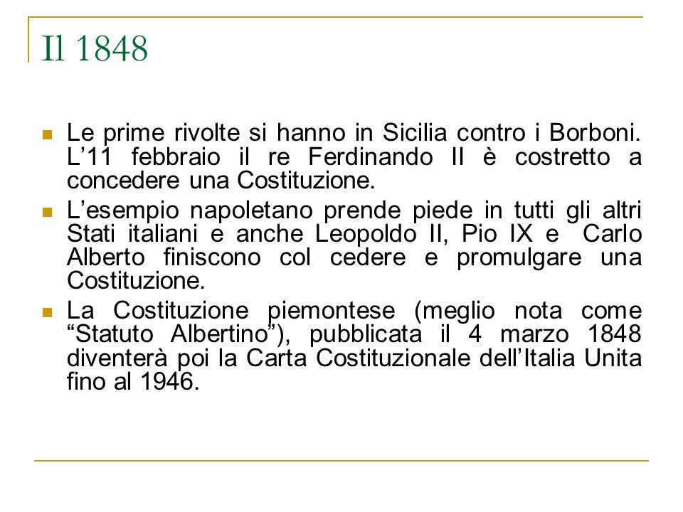 Il 1848 Le prime rivolte si hanno in Sicilia contro i Borboni. L11 febbraio il re Ferdinando II è costretto a concedere una Costituzione. Lesempio nap