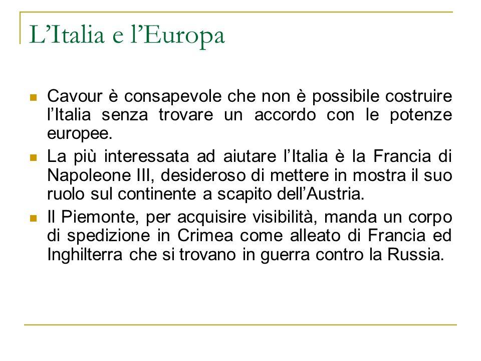LItalia e lEuropa Cavour è consapevole che non è possibile costruire lItalia senza trovare un accordo con le potenze europee. La più interessata ad ai