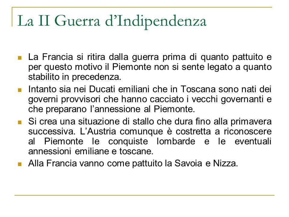 La II Guerra dIndipendenza La Francia si ritira dalla guerra prima di quanto pattuito e per questo motivo il Piemonte non si sente legato a quanto sta