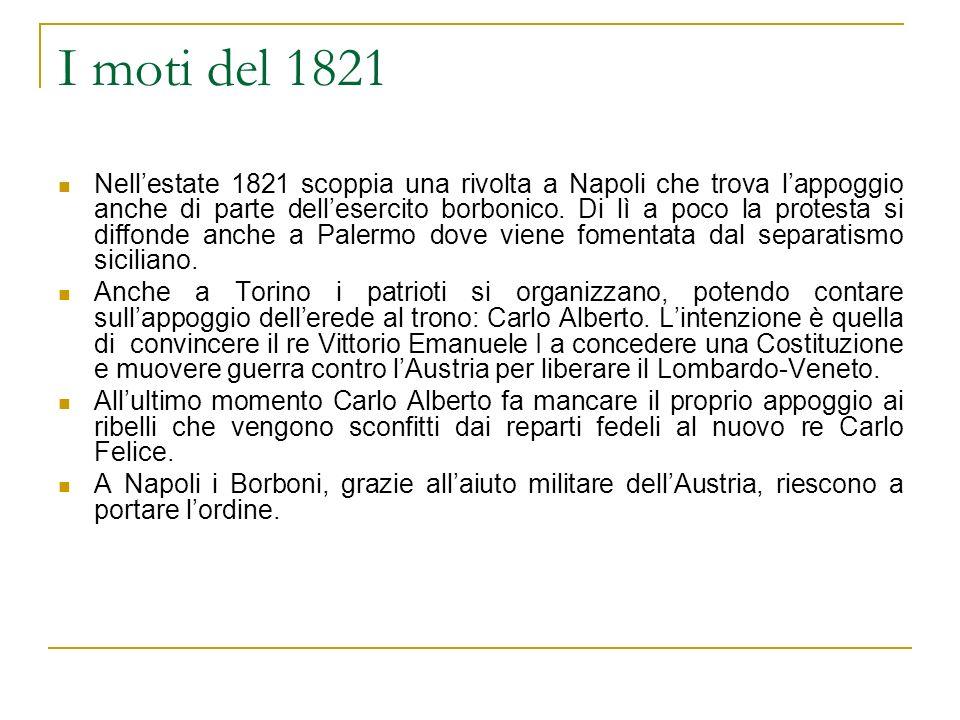 I moti del 1821 Nellestate 1821 scoppia una rivolta a Napoli che trova lappoggio anche di parte dellesercito borbonico. Di lì a poco la protesta si di