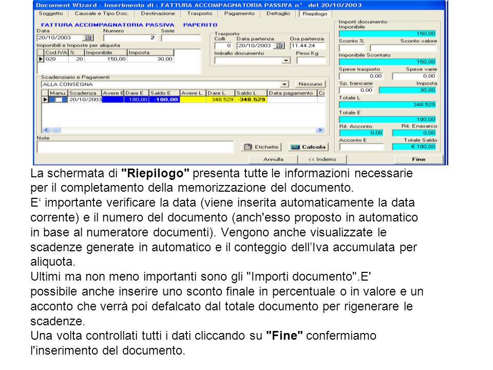 La schermata di Riepilogo presenta tutte le informazioni necessarie per il completamento della memorizzazione del documento.