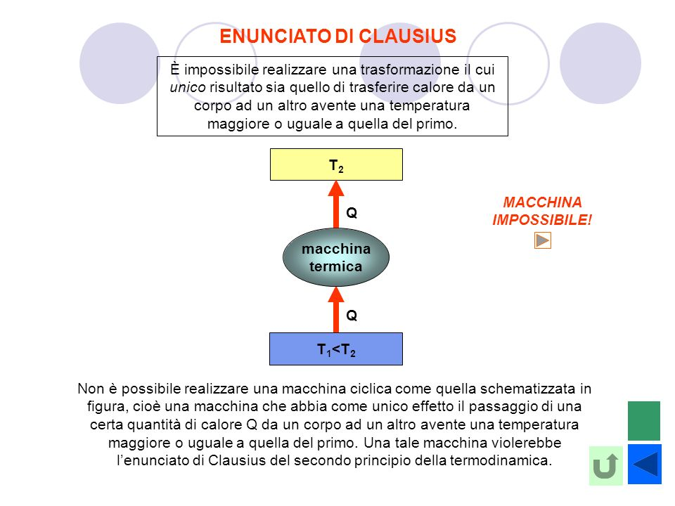 ENUNCIATO DI CLAUSIUS È impossibile realizzare una trasformazione il cui unico risultato sia quello di trasferire calore da un corpo ad un altro avent