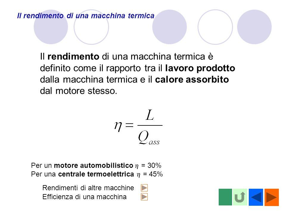 Il rendimento di una macchina termica Il rendimento di una macchina termica è definito come il rapporto tra il lavoro prodotto dalla macchina termica