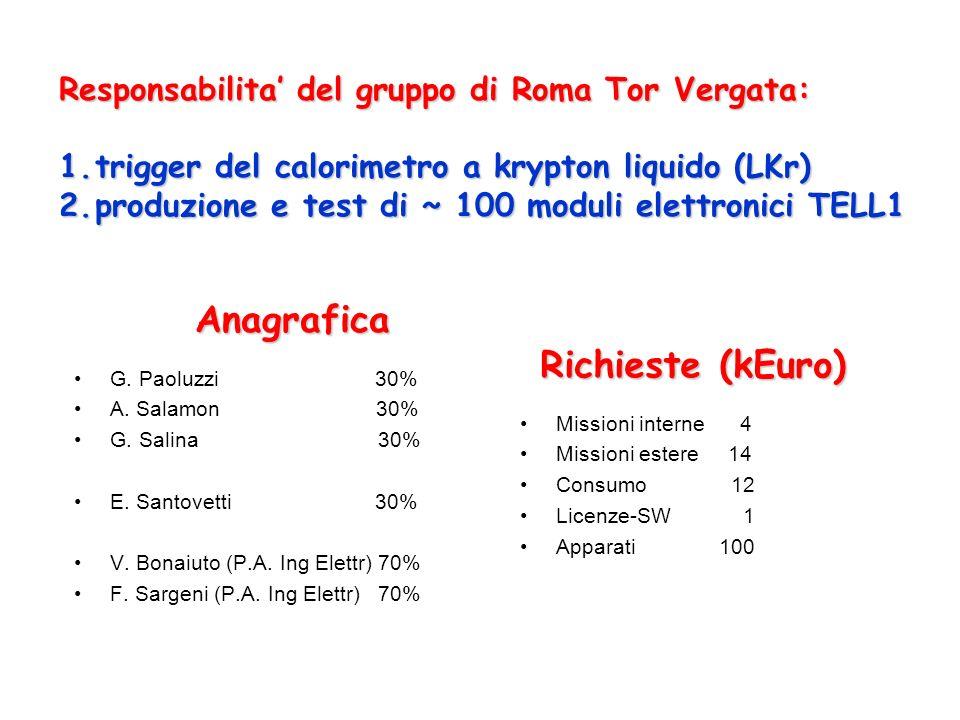 G.Paoluzzi 30% A. Salamon 30% G. Salina 30% E. Santovetti 30% V.