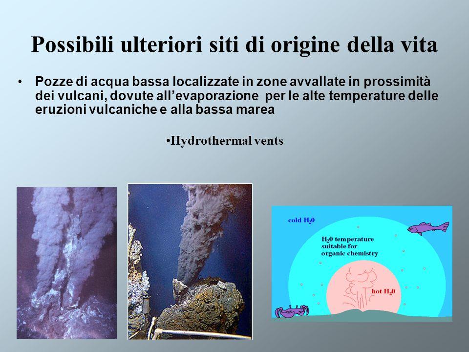 Possibili ulteriori siti di origine della vita Pozze di acqua bassa localizzate in zone avvallate in prossimità dei vulcani, dovute allevaporazione pe