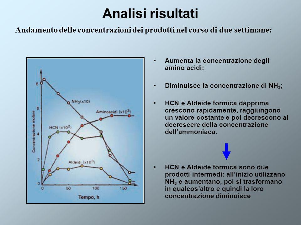 Analisi risultati Aumenta la concentrazione degli amino acidi; Diminuisce la concentrazione di NH 3 ; HCN e Aldeide formica dapprima crescono rapidame