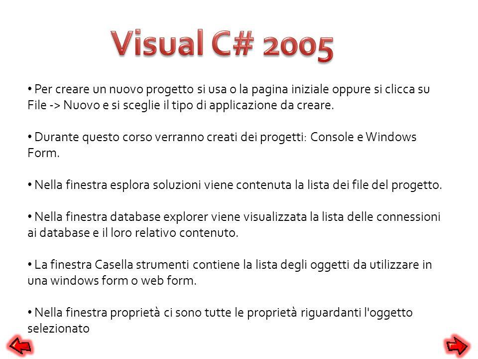 Per creare un nuovo progetto si usa o la pagina iniziale oppure si clicca su File -> Nuovo e si sceglie il tipo di applicazione da creare. Durante que