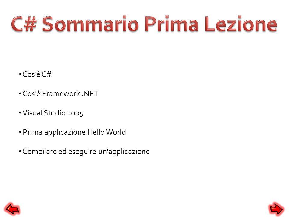 Cosè C# Cos'è Framework.NET Visual Studio 2005 Prima applicazione Hello World Compilare ed eseguire un'applicazione