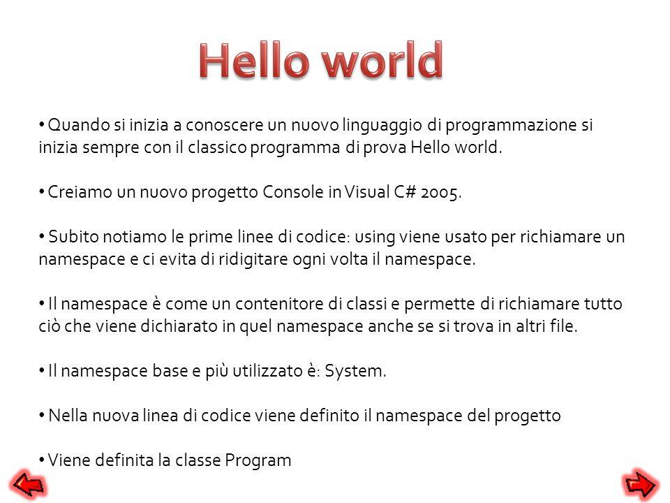 Quando si inizia a conoscere un nuovo linguaggio di programmazione si inizia sempre con il classico programma di prova Hello world. Creiamo un nuovo p