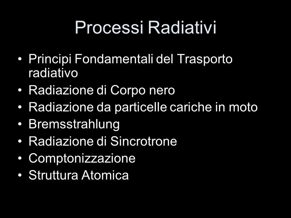 Processi Radiativi Principi Fondamentali del Trasporto radiativo Radiazione di Corpo nero Radiazione da particelle cariche in moto Bremsstrahlung Radiazione di Sincrotrone Comptonizzazione Struttura Atomica