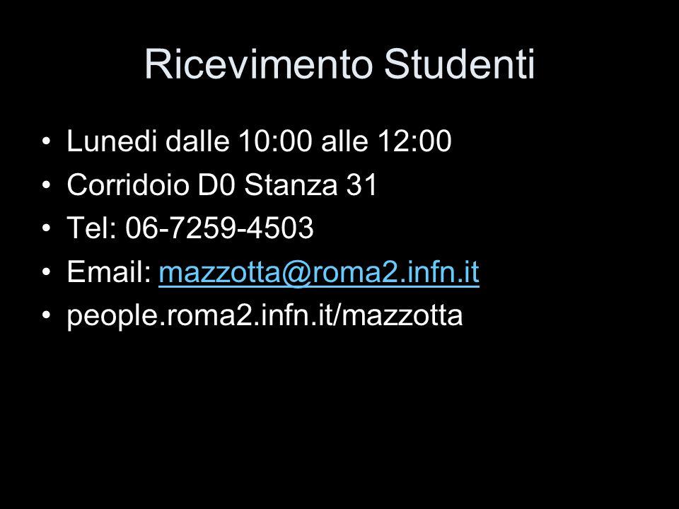 Ricevimento Studenti Lunedi dalle 10:00 alle 12:00 Corridoio D0 Stanza 31 Tel: 06-7259-4503 Email: mazzotta@roma2.infn.itmazzotta@roma2.infn.it people.roma2.infn.it/mazzotta