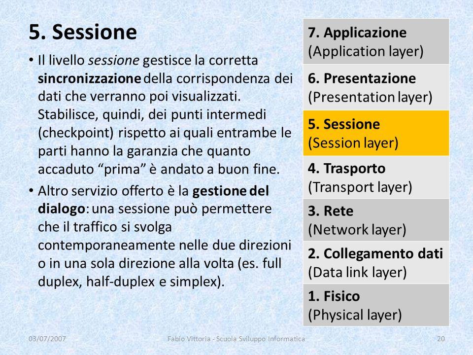 Il livello sessione gestisce la corretta sincronizzazione della corrispondenza dei dati che verranno poi visualizzati. Stabilisce, quindi, dei punti i