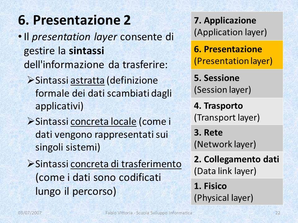 Il presentation layer consente di gestire la sintassi dell'informazione da trasferire: Sintassi astratta (definizione formale dei dati scambiati dagli