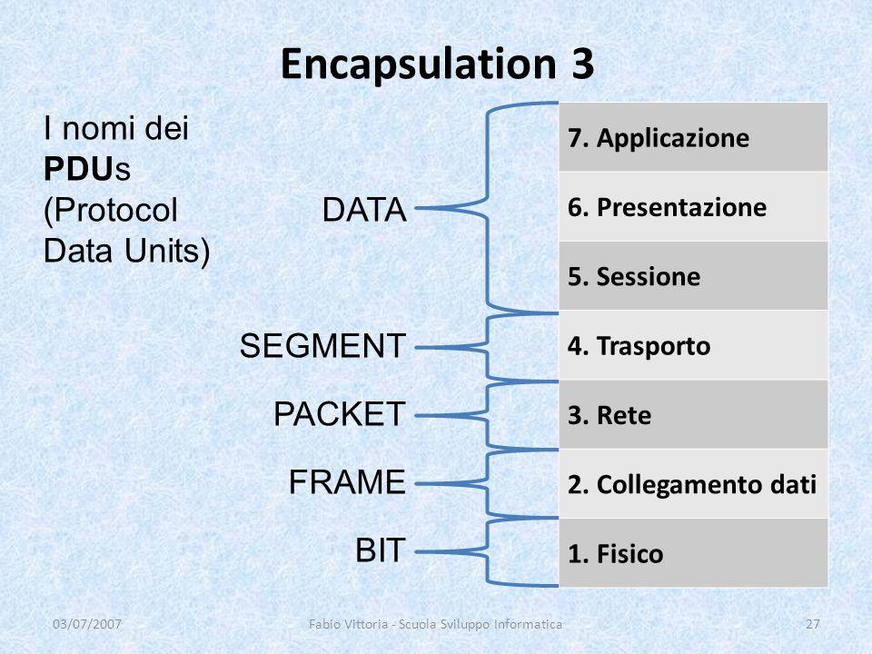 Encapsulation 3 03/07/2007Fabio Vittoria - Scuola Sviluppo Informatica27 7. Applicazione 6. Presentazione 5. Sessione 4. Trasporto 3. Rete 2. Collegam