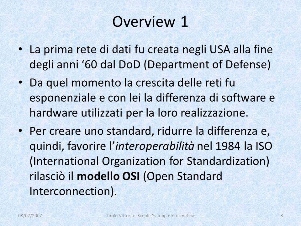 Overview 1 La prima rete di dati fu creata negli USA alla fine degli anni 60 dal DoD (Department of Defense) Da quel momento la crescita delle reti fu