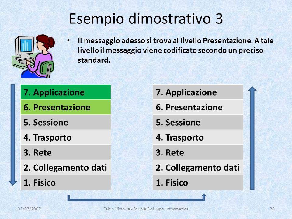 Il messaggio adesso si trova al livello Presentazione. A tale livello il messaggio viene codificato secondo un preciso standard. 03/07/2007Fabio Vitto