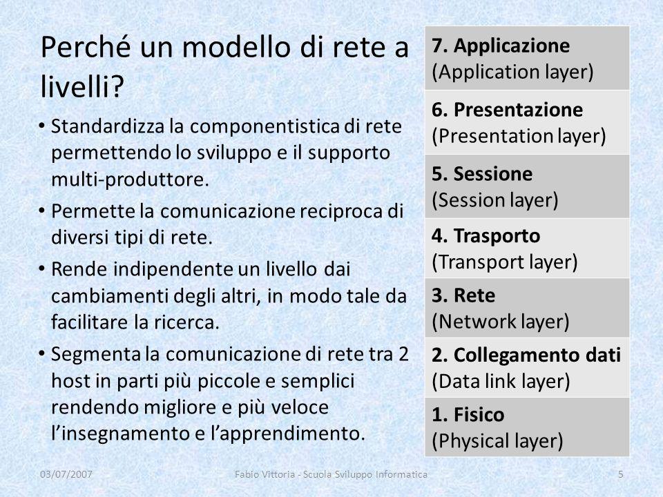 Perché un modello di rete a livelli? 7. Applicazione (Application layer) 6. Presentazione (Presentation layer) 5. Sessione (Session layer) 4. Trasport