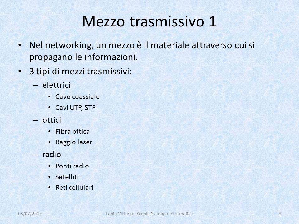 Mezzo trasmissivo 1 Nel networking, un mezzo è il materiale attraverso cui si propagano le informazioni. 3 tipi di mezzi trasmissivi: – elettrici Cavo