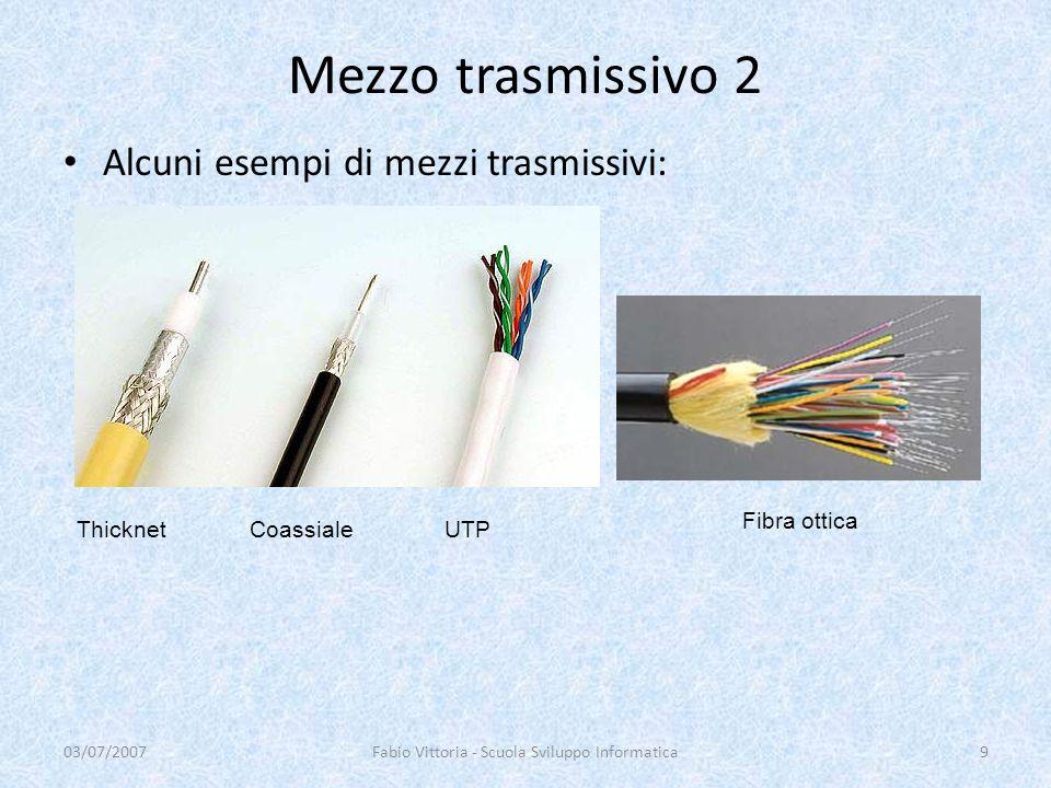 Mezzo trasmissivo 2 Alcuni esempi di mezzi trasmissivi: 03/07/2007Fabio Vittoria - Scuola Sviluppo Informatica9 Thicknet Coassiale UTP Fibra ottica