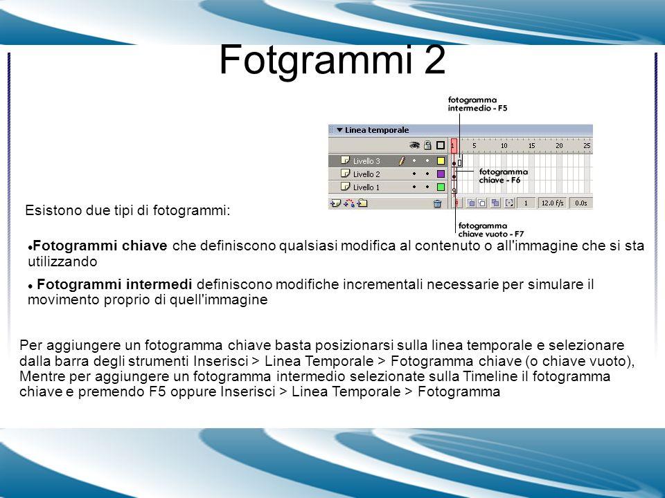 Fotgrammi 2 Esistono due tipi di fotogrammi: Per aggiungere un fotogramma chiave basta posizionarsi sulla linea temporale e selezionare dalla barra de