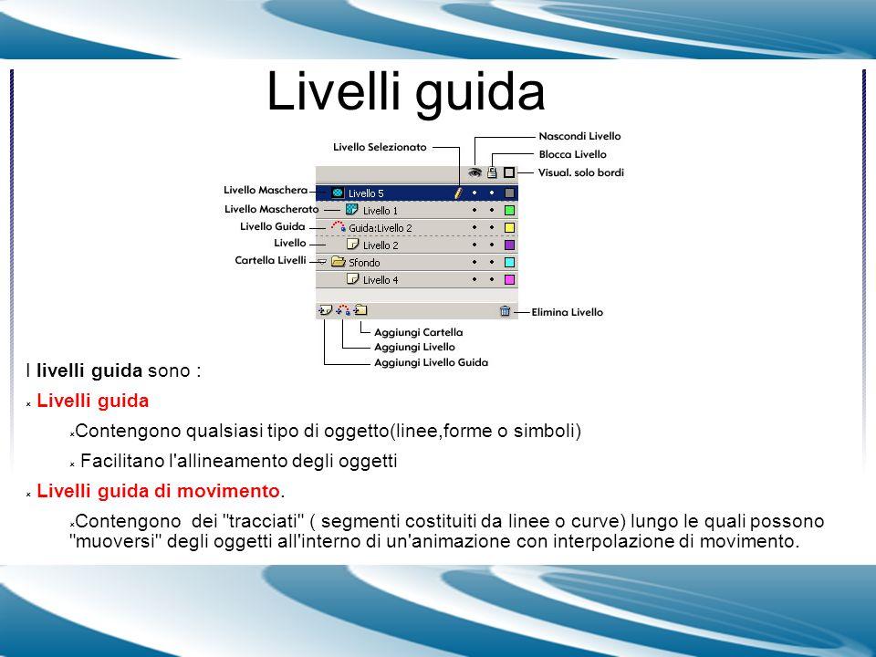 Livelli guida I livelli guida sono : Livelli guida Contengono qualsiasi tipo di oggetto(linee,forme o simboli) Facilitano l'allineamento degli oggetti