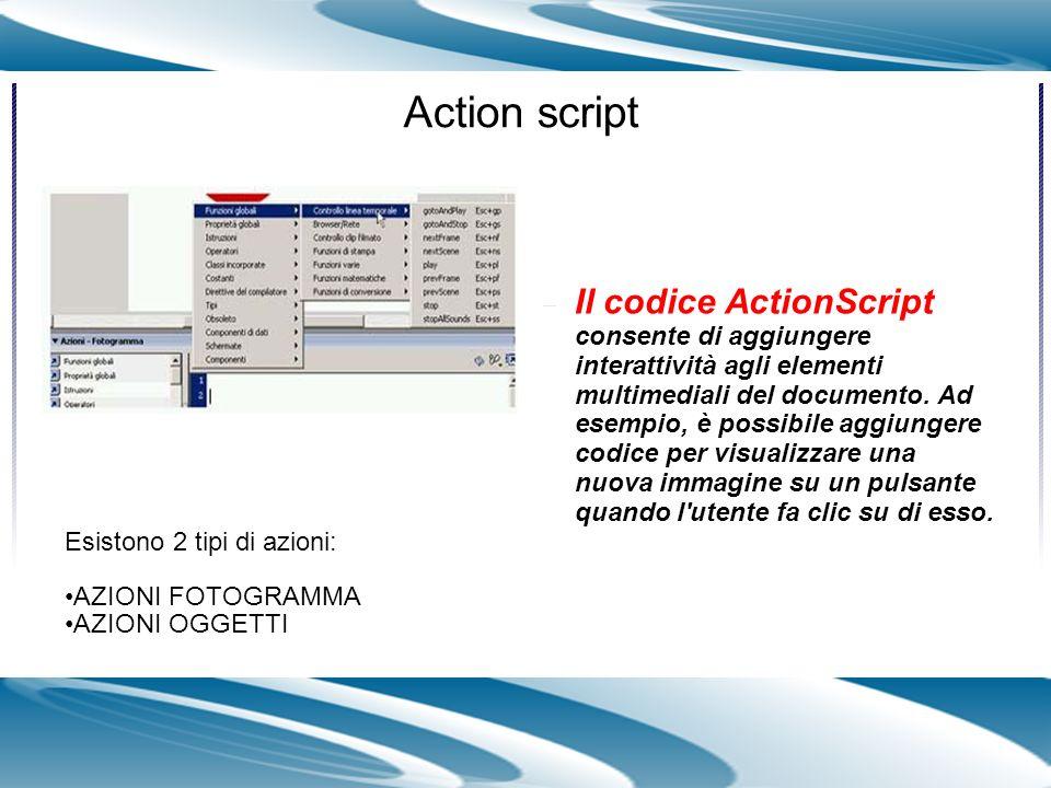 Il codice ActionScript consente di aggiungere interattività agli elementi multimediali del documento. Ad esempio, è possibile aggiungere codice per vi