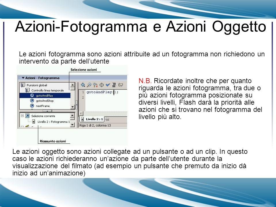 Azioni-Fotogramma e Azioni Oggetto Le azioni fotogramma sono azioni attribuite ad un fotogramma non richiedono un intervento da parte dellutente Le az