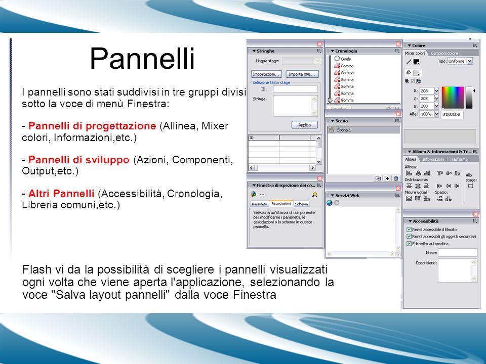 Pannelli I pannelli sono stati suddivisi in tre gruppi divisi sotto la voce di menù Finestra: - Pannelli di progettazione (Allinea, Mixer colori, Info