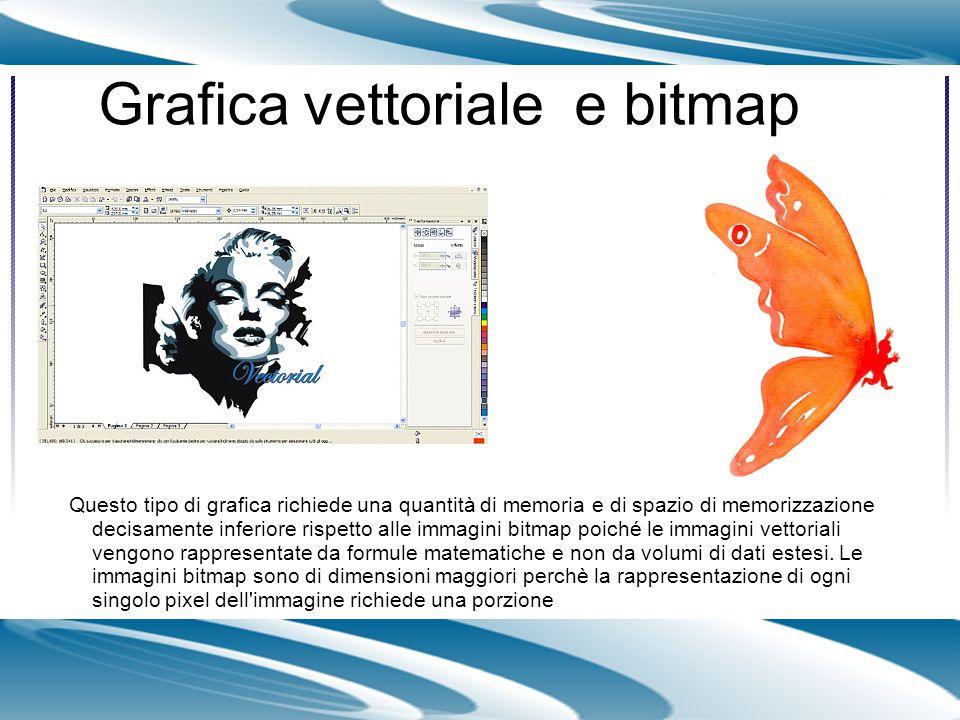Grafica vettoriale e bitmap Questo tipo di grafica richiede una quantità di memoria e di spazio di memorizzazione decisamente inferiore rispetto alle