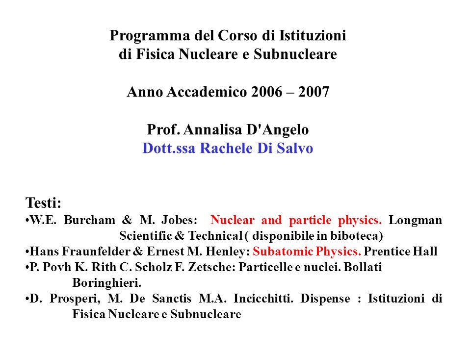 Programma del Corso di Istituzioni di Fisica Nucleare e Subnucleare Anno Accademico 2006 – 2007 Prof. Annalisa D'Angelo Dott.ssa Rachele Di Salvo Test